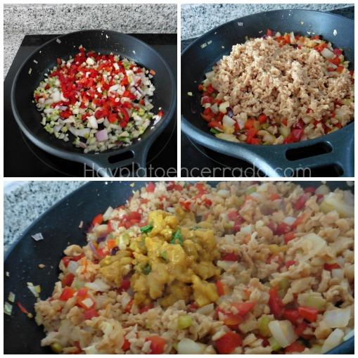 salteado verduras soja texturizada curry manzana