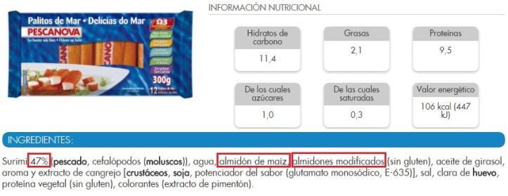 etiqueta surimi pescanova rollitos de mar