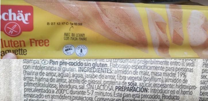 pan precocido sin gluten